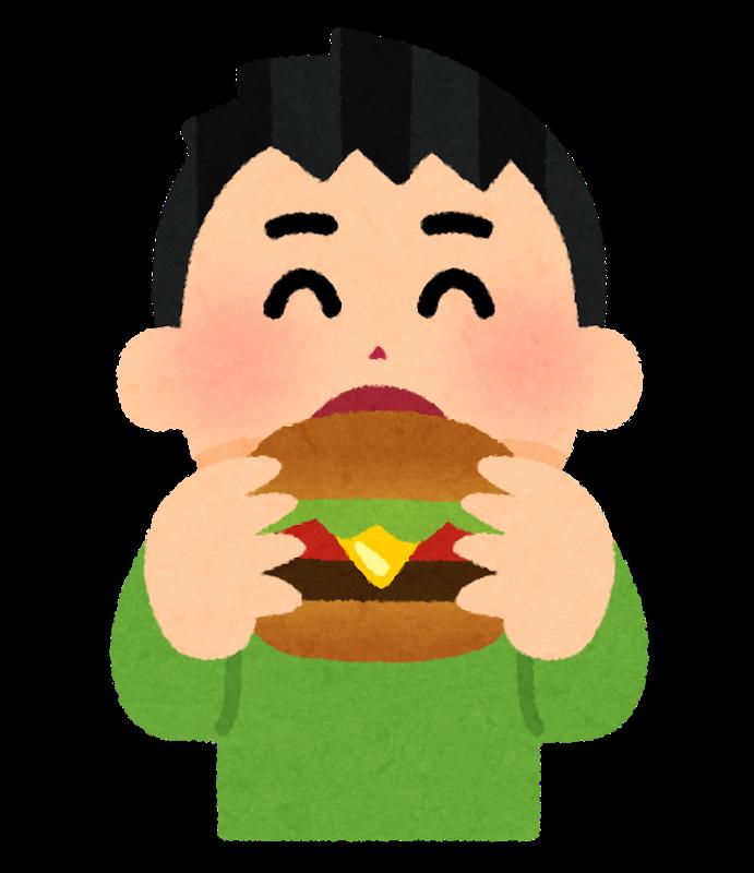 ハンバーガーをたべるマン!!!